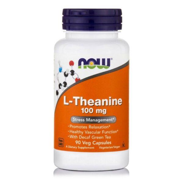 Now Foods L-Theanine 100 mg (Suntheanine + Grean Tea) - (90 Vcaps)