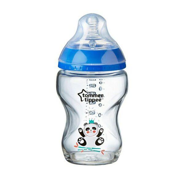 Tommee Tippee Μπιμπερό Γυάλινο Closer To Nature Panda Blue 0m+ 250ml