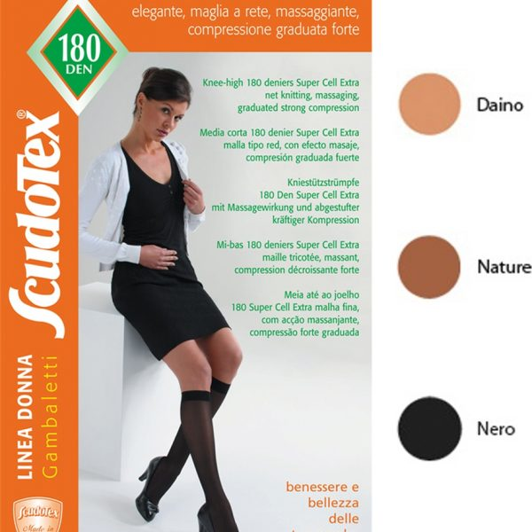 Scudotex 837 Καλτσάκι Kάτω Γόνατος Κλειστά Δάχτυλα (23-26 mmHg) 180DEN Super Cell Extra Daino